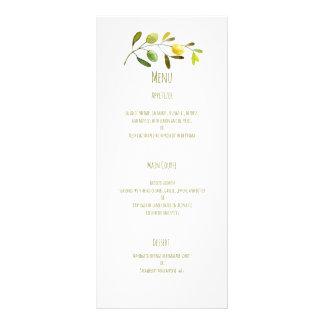 Olive branch watercolor wedding menu custom rack card