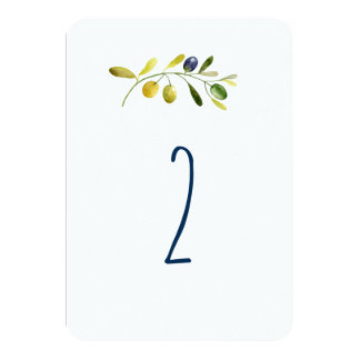 Olive branch watercolor wedding table number card