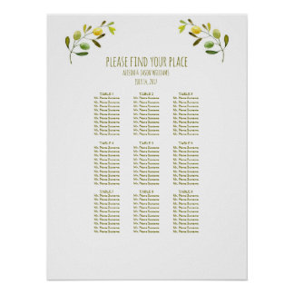 Olive branch wedding dinner seating chart poster