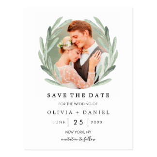 Olive Branch Wreath Classy Wedding Save the Date Postcard