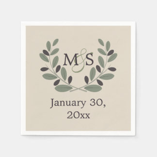 Olive branch wreath with initials wedding paper napkins