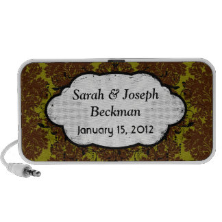 olive brown formal damask design laptop speakers