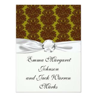 olive brown formal damask 17 cm x 22 cm invitation card