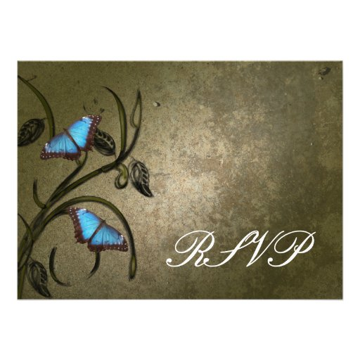Olive Butterfly Pair RSVP Card