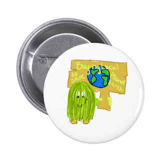 Olive Buying local to save planet earth Button