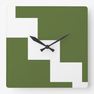 Olive Chevron Wall Clock
