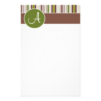 "Olive Circle w/ Stripes ""Monogram A"" Stationery"