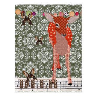 Olive Damask Deer & Golddust Butterflies  Postcard