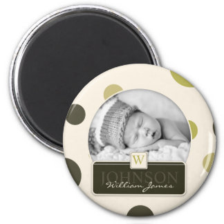 Olive Dot Print Birth Announcement 6 Cm Round Magnet