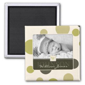 Olive Dot Print Birth Announcement Square Magnet