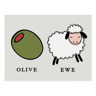 Olive Ewe Love Puns Postcard