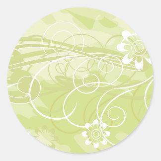 olive flowers classic round sticker
