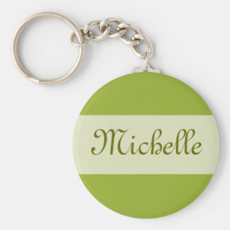 olive green Add your Name Basic Round Button Key Ring