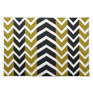 Olive Green and Black Whale Chevron Placemat