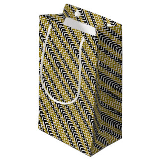 Olive Green and Black Whale Chevron Small Gift Bag