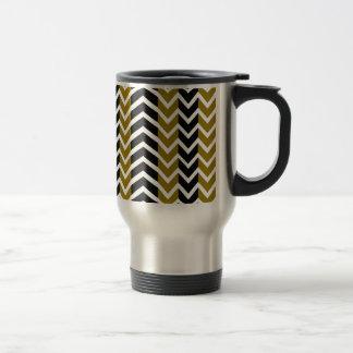 Olive Green and Black Whale Chevron Travel Mug