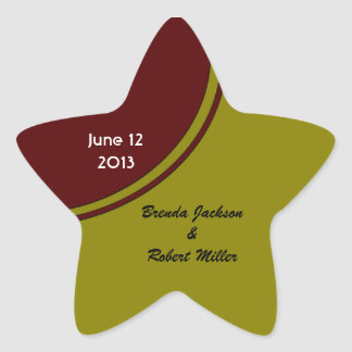 Olive Green and Brown Modern Wedding Star Sticker