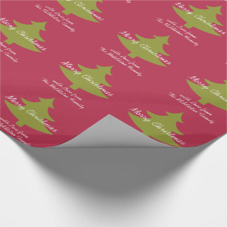 Olive Green and Coco Red Personalized Wrapping Paper