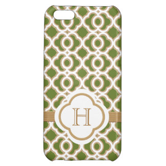 Olive Green and Gold Moroccan Monogram iPhone 5C Covers