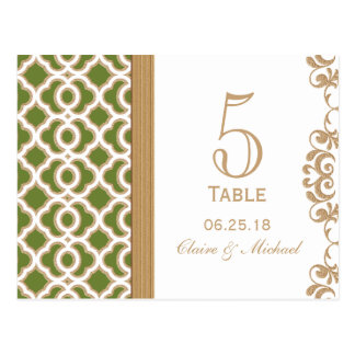 Olive Green and Gold Moroccan Wedding Table Number Postcard