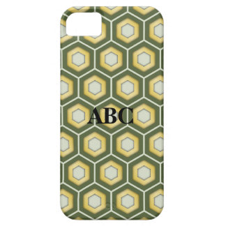 Olive Green and Gold Tiled Hex Case for iPhone5