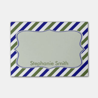 Olive Green and Navy Blue Oblique Stripes Pattern Post-it Notes