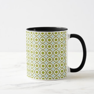 Olive green and pale blue retro pattern