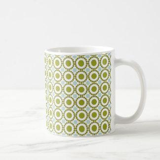 Olive green and pale blue retro pattern basic white mug