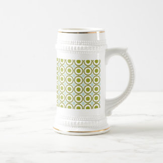 Olive green and pale blue retro pattern beer steins