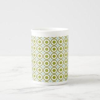 Olive green and pale blue retro pattern bone china mug