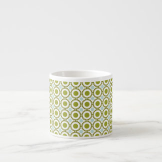 Olive green and pale blue retro pattern espresso mug