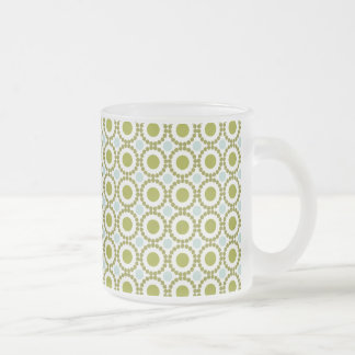 Olive green and pale blue retro pattern frosted glass mug