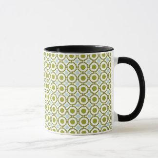Olive green and pale blue retro pattern mug