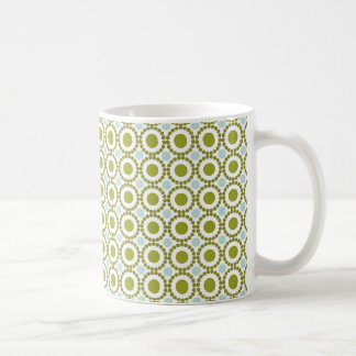 Olive green and pale blue retro pattern classic white coffee mug