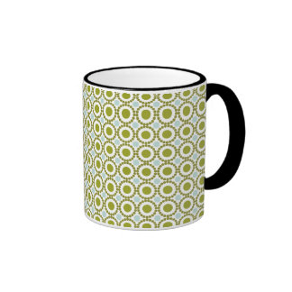 Olive green and pale blue retro pattern ringer mug
