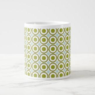 Olive green and pale blue retro pattern jumbo mugs