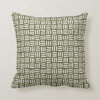 Olive Green and White Wicker Pattern Throw Pillow