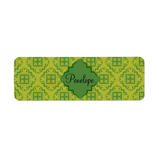 Olive Green Arabesque Moroccan Graphic Pattern Return Address Label