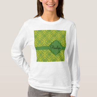 Olive Green Arabesque Moroccan Graphic Pattern T-Shirt