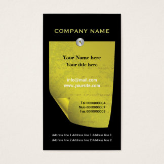 Olive green attached note custom business card