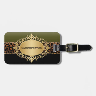 Olive Green, Black and Jaguar Animal Print Luggage Tag