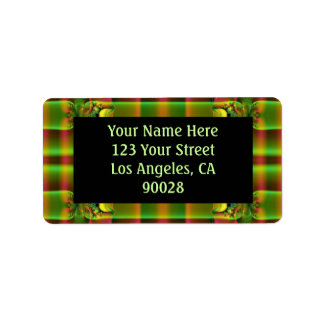 olive green brown pattern address label
