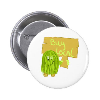 Olive Green Buy Local Pinback Button