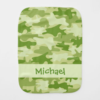 Olive Green Camo Camouflage Name Personalised Baby Burp Cloth
