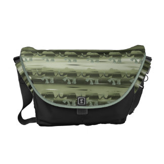Olive Green Camouflage Elephant Pattern on Stripes Courier Bag