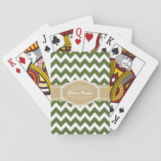 Olive Green Chevron with Beige Personalized Name Playing Cards