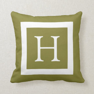 Olive Green Custom Monogram Throw Pillow