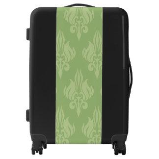 Olive Green Damask Medium Sized Luggage Suitcase