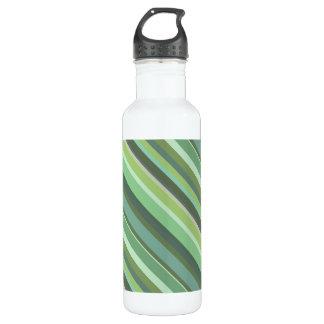Olive green diagonal stripes 710 ml water bottle