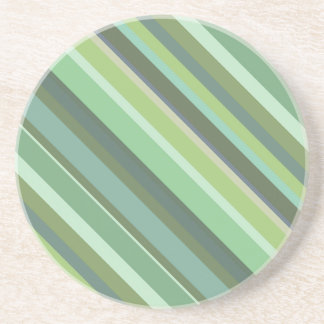 Olive green diagonal stripes coaster